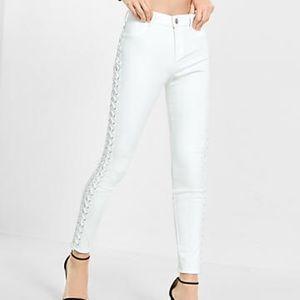 Express high rise white lace up jean legging sz4